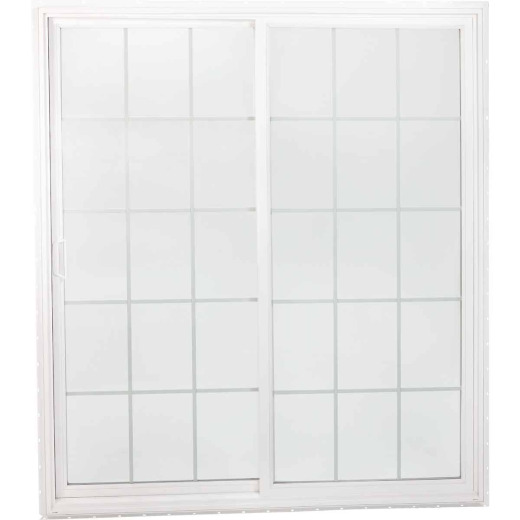 Interstate Model 4202 6/0-6/8 White Reversible Sliding Patio Door with Grids